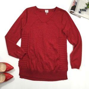 Cupio | Red Metallic Knit Swearer